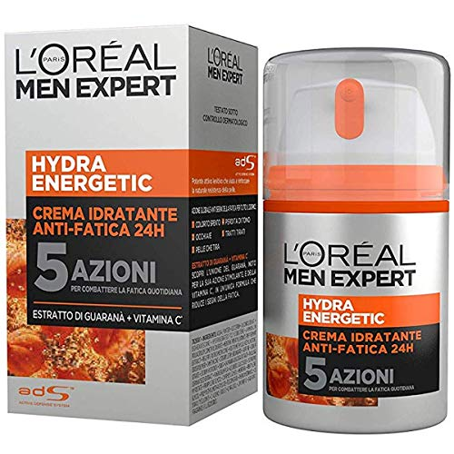 L'Oréal Paris Men Expert Hydra Energetic, Crema Idratante Anti-Fatica 24H, con Estratto di Guaranà e Vitamina C, 50 ml