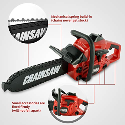 Toy Choi's Pretend Play Series Chainsaw Toy Tool Play Set, Outside Construction Work Shop Toy Tool Kit Outdoor Preschool Gardening Lawn Toy Gift for Kids Toddler Children Boys and Girls