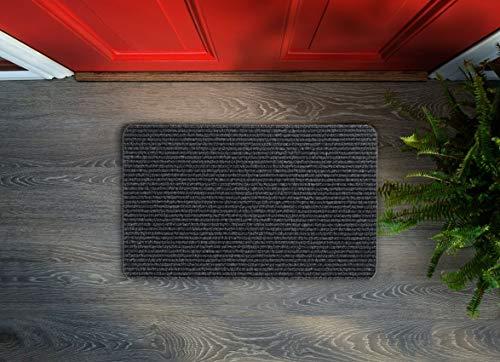 Floorcover Felpudo, de alta calidad, doble acanalado, para interiores, fieltro punzonado, color gris oscuro, 50 x 75 cm