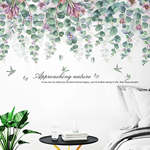 Pegatinas De Pared De Hojas Verdes De Gran Naturaleza para Sala De Estar, Dormitorio, TV, Sofá, Fondo, Calcomanías De Pared De Bricolaje Extraíbles, Murales Ecológicos