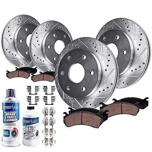Detroit Axle - Drilled Slotted FRONT REAR Brake Rotors & Ceramic Brake Pads w/Hardware, Brake Fluid & Cleaner fits Chevy Tahoe Silverado/Suburban/GMC Sierra 1500 Yukon Cadillac Escalade