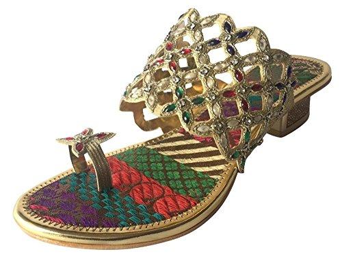 Step n Style Womens tacco brillante festa matrimonio sandali Khussa etnico Mojari, Multicolore (multicolore), 38 EU