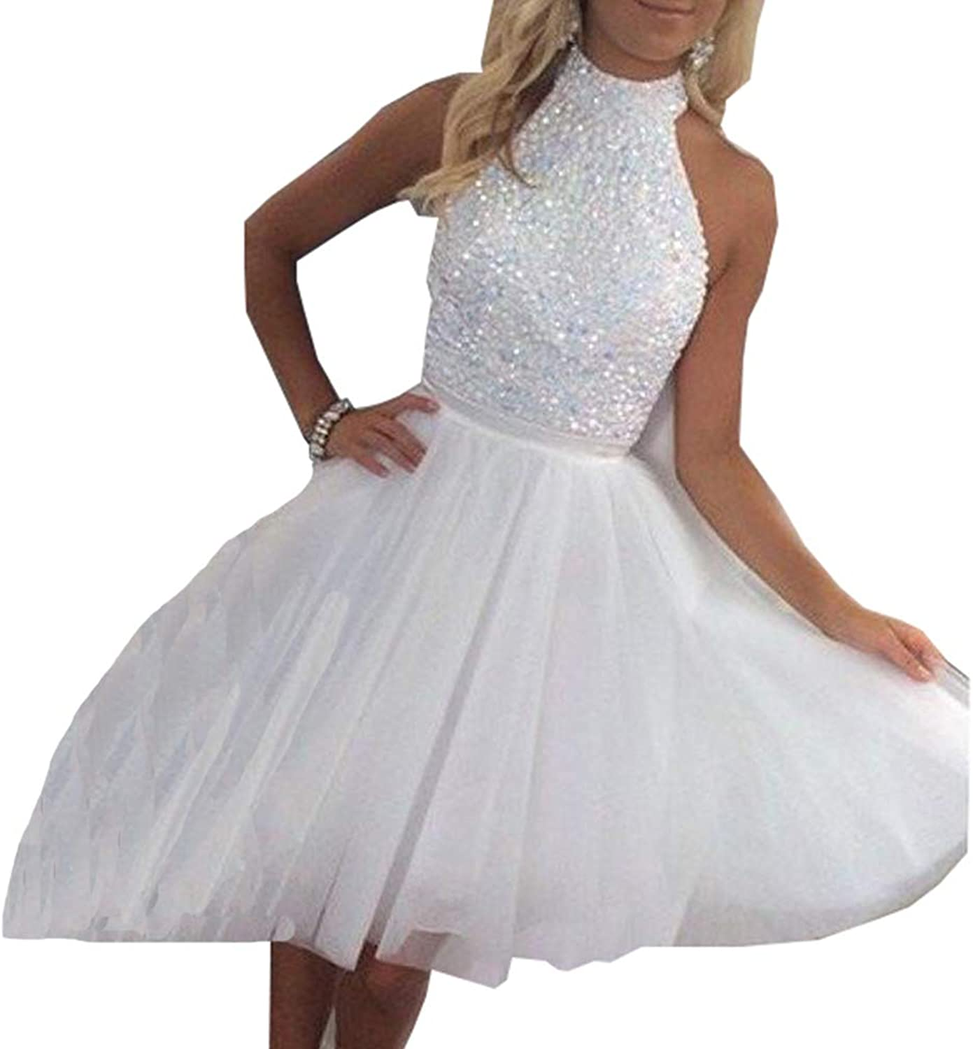 Beautydress Beaded Short Keyhole Back Prom Dress High Neck Homecoming Party Dresses BP126