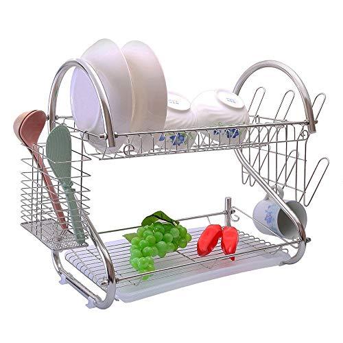 St@llion 2 Tier Stainless Steel Dish Storage Rack with Drip Tray Dish Drainer Holder (Chrome)