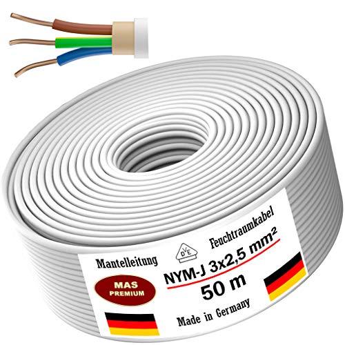 Feuchtraumkabel Stromkabel 20m, 50m oder 100m Mantelleitung NYM-J 3x2,5mm² Elektrokabel Ring für feste Verlegung (50m)