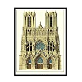 HJZBJZ Notre-Dame Cathedral of Reims Poster Picture