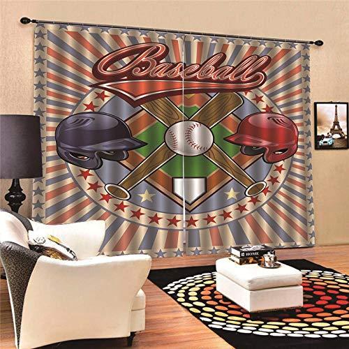 EZEZWSNBB Cortinas Opacas De Térmica Aislante 3D - Beisbol - Adecuado para Balcon,Salón,Habitación,Dormitorio Modernos Cortinas Accesorios Gancho Regalos Círculo Romano(150Cm X 166Cm)