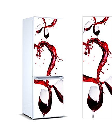 Pegatinas Vinilo para Frigorífico Copas Vino | Varias Medidas 185x60cm | Adhesivo Resistente y de Fácil Aplicación | Pegatina Adhesiva Decorativa de Diseño Elegante