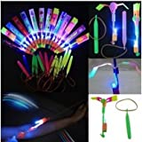 Habelyi 25PCS Amazing Led Light Arrow Rocket Helicopter Flying Toy Party Fun Gift Elastic Slingshot Flying Copters Birthdays Thanksgiving Christmas Day Outdoor Game for Kids