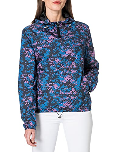 Urban Classics Ladies Camo Pull Over Jacket, Cortavientos, para Mujer, Digital Duskviolet Camo, XXXL