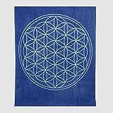 BioTextilien-Allgäu Decke mit der Blume des Lebens aus Reiner Bio-Baumwolle (Indigo/Aquamarin)