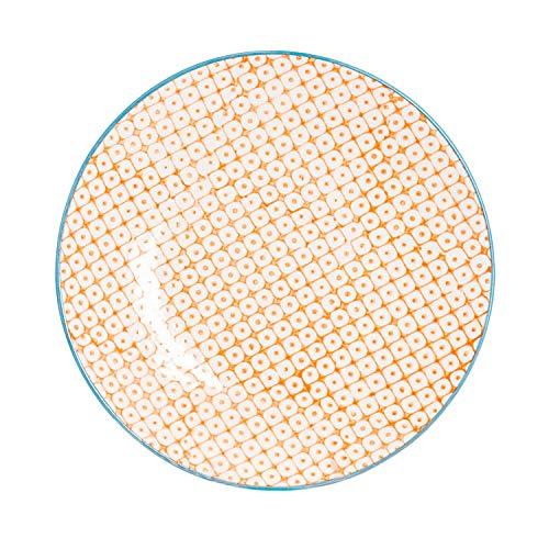 Petite assiette à gâteau/dessert ornée de motifs - 180 mm - imprimé orange/bleu