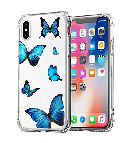 JANDM iPhone XR Clear Case, Clear Soft TPU Silicone Shockproof Glitters Cute Butterfly Women Girls' Case Cover for Apple iPhone XR-Butterfly A