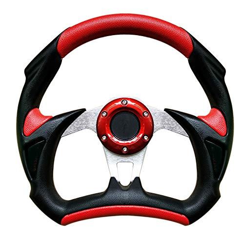 idain Universal Fit 320mm/12.5 inch Diameter Racing Style Leather Steering Wheel Interior Steering Wheel (Red)