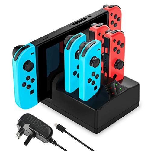 YCCTEAM oplader voor Nintendo Switch, 5-in-1 laadstation voor Switch Joy-Cons en console met 5 voet kabel voeding oplader voor Nintendo Switch