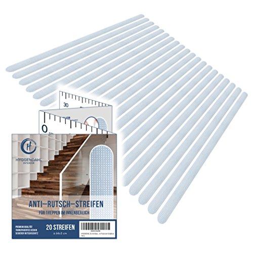 HYGGENDAHL 20x Anti-Rutsch Streifen für Treppen I Selbstklebender Rutschschutz Transparent I Klebestreifen mit Positionier-Schablone