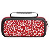 Red Heart Carrying Storage Case for Nintendo Switch, Portable Travel All Protective Hard Messenger Bag Soft Lining 20 Games for Switch Console Pro Controller & Accessories Black