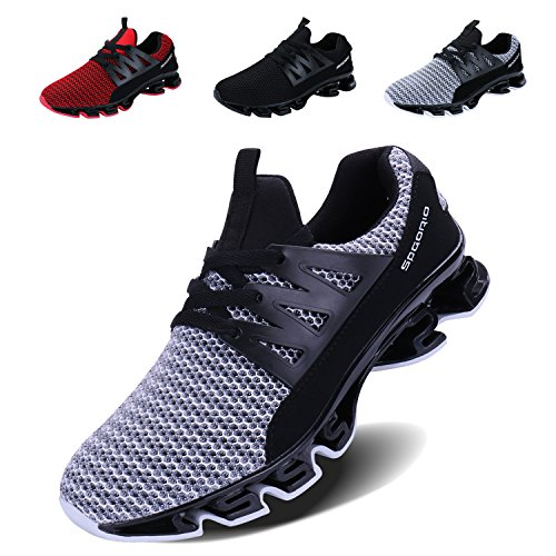 VOEN Mens Casual Walking Shoes Blade Outdoor Sport Sneakers Mesh Breathable Fashion Shoe Grey Size 43