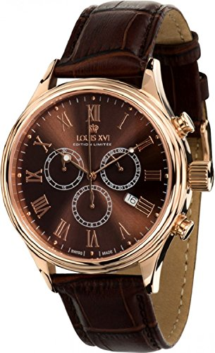 LOUIS XVI Herren-Armbanduhr Danton Rosegold Braun Römische Zahlen Chronograph Analog Quarz echtes Leder Braun 472
