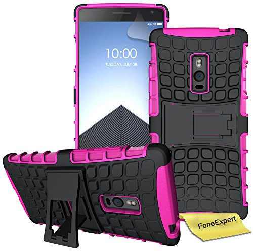 FoneExpert® OnePlus 2 / OnePlus Two Handy Tasche, Hülle Abdeckung Cover schutzhülle Tough Strong Rugged Shock Proof Heavy Duty Case für OnePlus 2 / OnePlus Two + Bildschirmschutzfolie (Rosa)