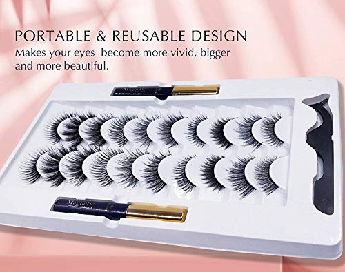 Magnetic Eyeliner and Lashes Magnetic Eyelashes Natural Look Kit False Lashes 10 pairs with Magnetic Eyelash Applicator Tool