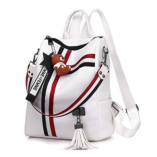 DuLi Women Backpack Fashion Pu Leather Shoulder Bag Girls Student School Bag Travel Backpack Bag Rucksack Satchel (Black/White),White