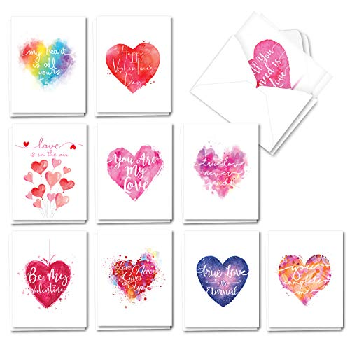 Photo of The Best Card Company Line Heart – 20 Assorted Boxed Valentine's Day Note Cards with Envelopes (4 x 5.12 Inch) – Handwritten Love AM3182VDG-B2x10