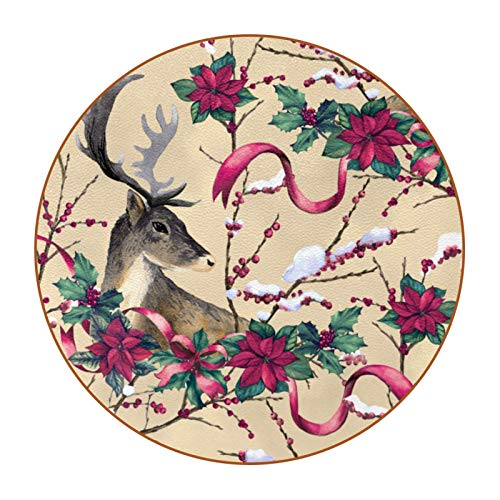 Drink Coaster Ceramic Glass Absorbent Stone Coasters Suitable for All Kinds of CupsVintage Reindeer with Floral