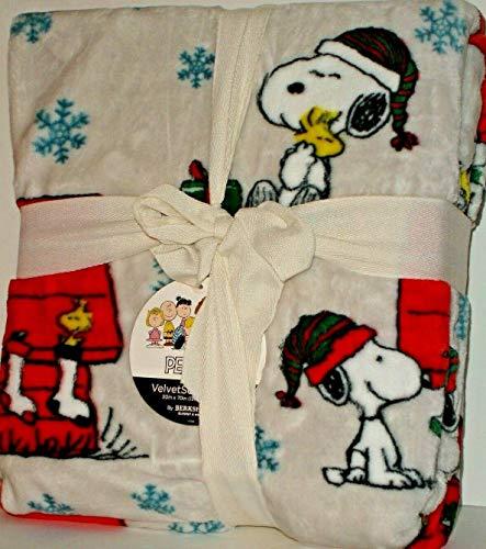 Peanuts Snoopy and Woodstock Christmas Cheer Throw Blanket Berkshire