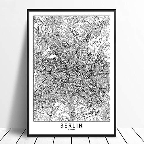 Leinwanddruck,Berlin Schwarz Weiß Benutzerdefinierte Welt Stadtplan Poster Drucken Sie Bilder Auf Leinwand Im Nordischen Stil Wand Kunst Für Home Decor Bilder Ohne Rahmen, 20 X 28 Zoll (50 Cmx 70 Cm)