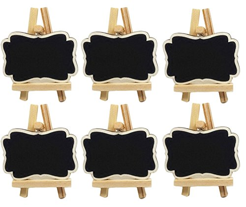 Miraclekoo Mini Chalkboards Place Cards with Easel for Wedding, Parties, Table Top Numbers, Food Signs, Decorating Signs,Message Board Signs,Set of 6