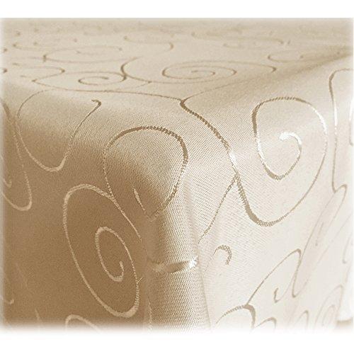 JEMIDI Tischdecke Ornamente Seidenglanz Edel Tisch Decke Tafeldecke 31 Größen und 7 Farben Creme Rund160cm