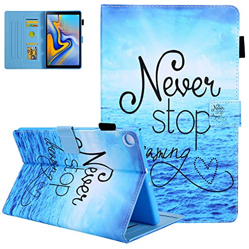UGOcase Galaxy Tab A7 10.4 Case 2020, SM-T500/505/SM-T507 Cover Shell, Flip Folio Stand PU Leather Protective Case with Card Slots & Pencil Holder for Samsung Galaxy Tab A7 10.4 2020 - Never Stop