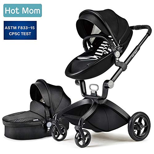 New Baby Stroller 2020, Hot Mom Baby Carriage with Pu Rubber Wheel Bassinet Combo,Black