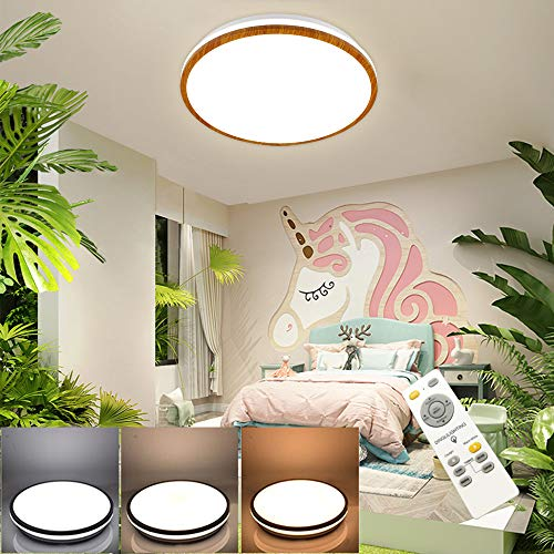 DLLT LED Modern Deckenlampe mit Fernbedienung Dimmbar 35W, 2800lm, Ultradünn, 3 Farben in 1(Warm/Natürlich/Kalt), Deckenleuchte mit Holzmaserung für Essenzimmer, Küche, Wohnzimmer, Schlafzimmer