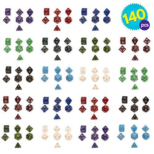 THE TWIDDLERS Packung mit 20 Dungeons & Dragons Spiel polyedrische vielflächige Würfel - Großartig für Verschiedene Spiele - Inklusive Aufbewahrungstasche