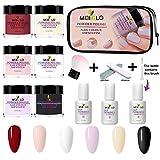 Joojun Kit de uñas en Polvo Dip Powder System Starter Nail Kit Sistema de inmersión French Nail Manicure Nail Art Set para el Cuidado Diario de Las uñas