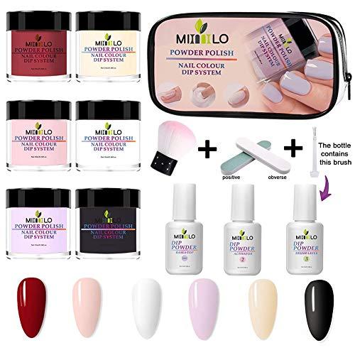 Nieuwste dompelpoeder Nagelstartkit 6 kleuren, dompelpoedersysteem Startnagelkit Dompelsysteem voor French Nail Manicure Nail Art Set Essential Kit, draagbare kit voor reizen