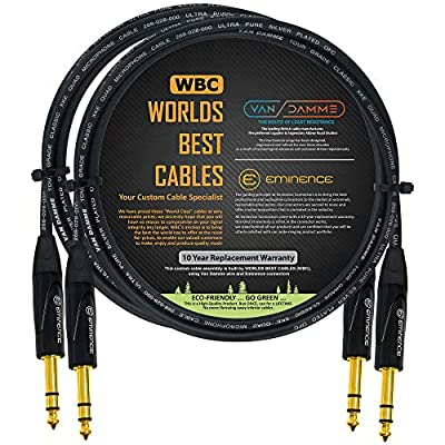 2 Units - 1.5 Meter - Van Damme Tour Grade Classic XKE Starquad - Premium Silver-Plated OFC Balanced TRS Patch Cable with Eminence E502 6.35mm Gold TRS Stereo Connectors
