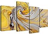 Cuadro abstracto en lienzo de 4 piezas, tamaño grande, color amarillo mostaza y gris en espiral, nº4290, deWallfillers