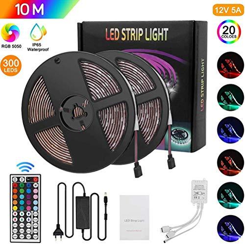 LED stripverlichting, Meirrai 10m RGB Kleurveranderende Verlichtingsstrip met Afstandsbediening en Schakelkast, Veelkleurige Sfeerverlichting voor Thuis TV-keuken DIY Decoratie, 5050LED Waterdicht