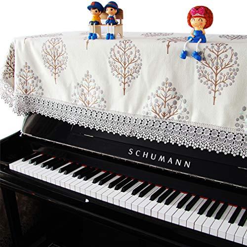 ピアノカバー アップライト トップカバー デジタル 電子ピアノカバー レース 北欧 刺繍 標準直立型ピアノ用 間口130-160cm通用 ほとんどのサイズのピアノに適合 可愛い おしゃれ ピアノ掛け 田園風 厚い 防塵カバー シート 爽やか 樹 現代 unusual (ピアノカバーのみ)