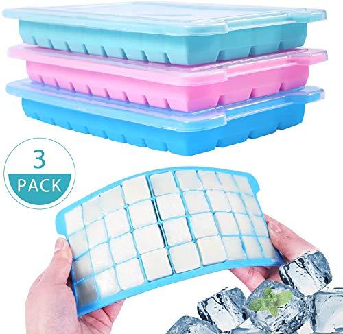 BETOY 3 pcs Eiswürfelform silikon, 36-Fach Eiswürfelbehälter zum Einfrieren, 108 Eiswürfel für Kühlschrank, Mikrowellenherd, Ofen. 3er Set für Eiswürfel, Schokolade, Kindernahrung usw - Mit Deckel