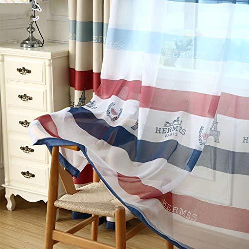 Oogje Gordijnen -Color Horizontale Patroon van de Strepen Gordijnen Zonnescherm Window Gordijnen for Living Room, 200x270CM 413 (Color : B, Size : 300x270cm)