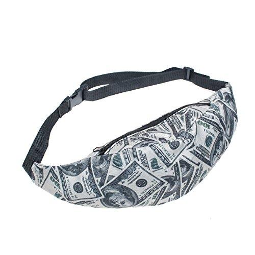The Christmas Outfit Cinturón de piel de riñonera de dinero de viaje Sport diseño de piel de Fanny con cremallera cartera de imitación de unidades