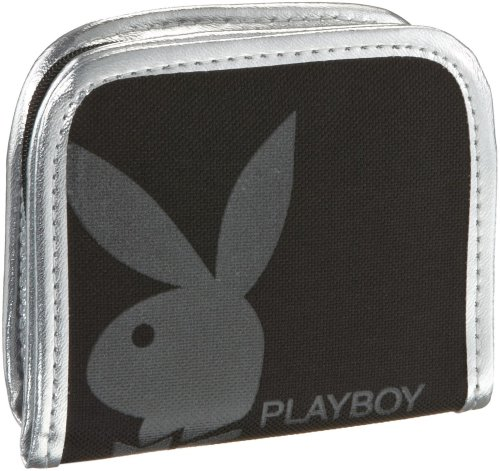 Playboy GIFT COLLECTION PURSE BLACK/SILVER PA2713-BLK, Damen Portemonnaie, schwarz, (blk), 10x2x11,5