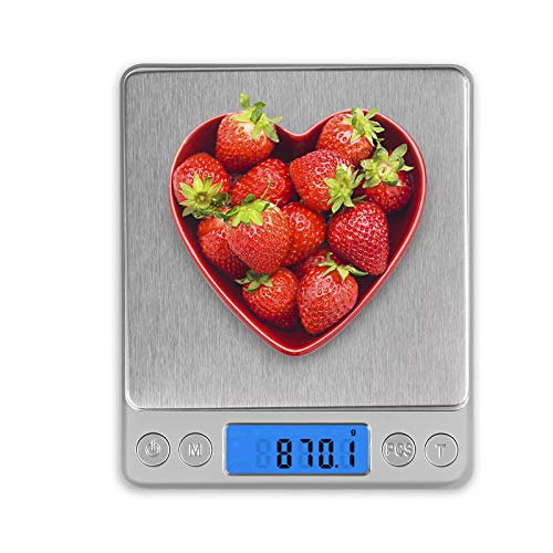 Food Scale Gram Scale with 2 Trays 01g3000g/66lb Weight Grams and Oz for Baking Scale for Food Stainless Steel Mini Digital Kitchen Scale