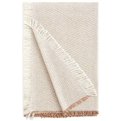 Vipalia | Mehrzweck-Tagesdecke. Plaid für Bett. Foulard Sofa- und Bett-Überwurf. Komfortabel, weich, hygienisch. Aus Bio-Baumwolle. Hochwertiges Fischgrätenmuster. Alle Größen