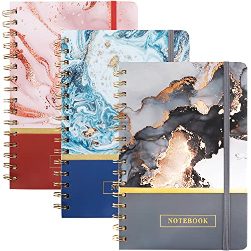 EOOUT 3 Pack Spiral Notebook College Ruled Notebook, 5.5' x8.3' 80 Sheets Lined Journal, Back Pocket Hardcover Colorful Marble Pattern for School Office Home