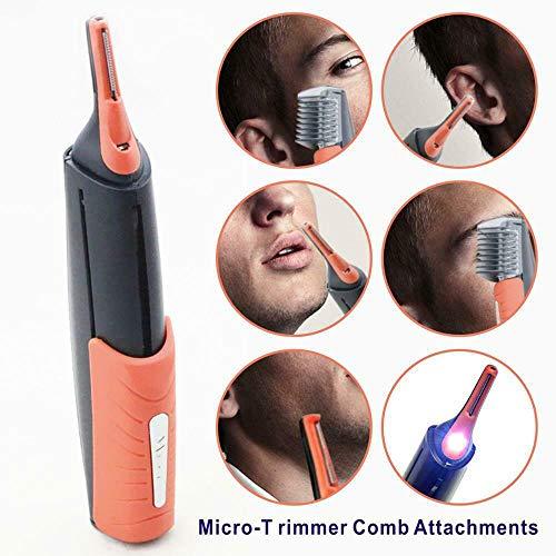 All in One Hair Trimmer, Batterij-Aangedreven Gezicht Grooming Trimmers Shaver Ontharing Clipper Razor Voor Neus Oorhaar Wenkbrauwen Beard,Orange